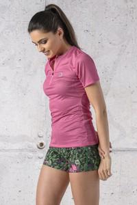 Różowy t-shirt Nessi Sportswear z dzianiny z krótkim rękawem w stylu casual
