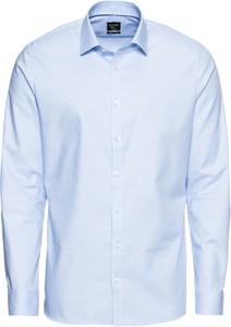 Niebieska koszula Olymp z bawełny z długim rękawem z klasycznym kołnierzykiem