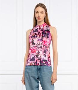 Różowa bluzka Guess w stylu casual