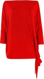 Czerwona bluzka CAHA z długim rękawem z okrągłym dekoltem