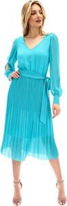 Niebieska sukienka POTIS & VERSO midi z szyfonu z dekoltem w kształcie litery v