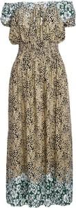 Sukienka Multu maxi z krótkim rękawem z dekoltem w kształcie litery v