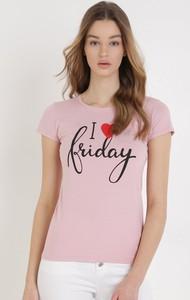Różowa bluzka born2be z bawełny w młodzieżowym stylu