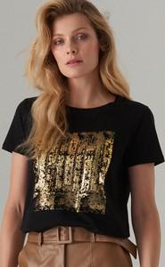 Czarny t-shirt Mohito z okrągłym dekoltem z krótkim rękawem
