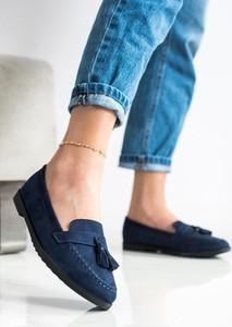 Granatowe buty Czasnabuty z płaską podeszwą