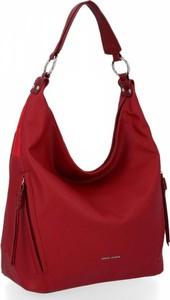 Czerwona torebka David Jones w stylu glamour ze skóry ekologicznej lakierowana