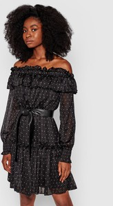 Czarna sukienka Guess mini z długim rękawem
