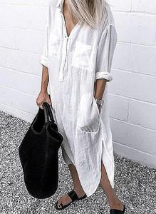 Sukienka Cikelly maxi w stylu boho z dekoltem w kształcie litery v