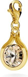 GIORRE SREBRNY CHARMS SWAROVSKI RIVOLI 10MM 925 : Kolor kryształu SWAROVSKI - Light Silk, Kolor pokrycia srebra - Pokrycie Żółtym 24K Złotem