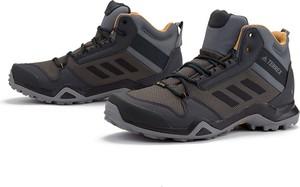 Brązowe buty trekkingowe Adidas sznurowane