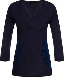 Granatowa bluzka Desigual w stylu casual z długim rękawem