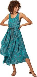 Sukienka Aller Simplement z dekoltem w kształcie litery v midi na ramiączkach