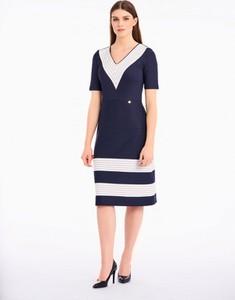 Sukienka POTIS & VERSO z dekoltem w kształcie litery v z krótkim rękawem