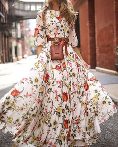 Sukienka Kendallme trapezowa maxi w stylu boho