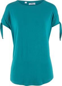 Turkusowy t-shirt bonprix bpc bonprix collection z krótkim rękawem w stylu casual