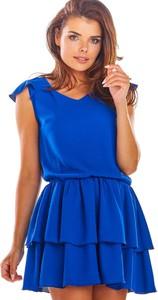 Niebieska sukienka Awama z dekoltem w kształcie litery v mini