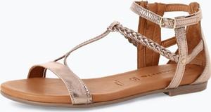 Różowe sandały Tamaris z klamrami ze skóry