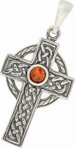 """Ambertic-sx Wisiorek """"Krzyż"""" z koniakowym bursztynem"""