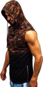 T-shirt Denley z bawełny w militarnym stylu bez rękawów