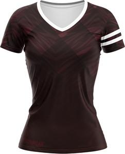Czerwony t-shirt Vision Wear Sport z dekoltem w kształcie litery v z tkaniny