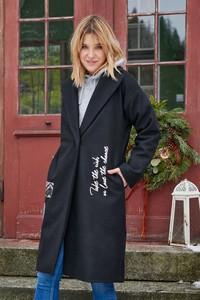 Czarny płaszcz Naoko z wełny w stylu casual