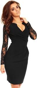 Czarna sukienka Kartes-moda z długim rękawem z dekoltem w kształcie litery v