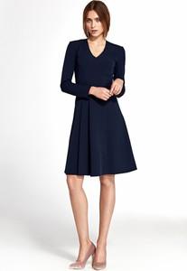 Granatowa sukienka Merg z długim rękawem