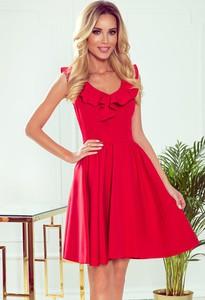 Czerwona sukienka NUMOCO rozkloszowana z dekoltem w kształcie litery v na ramiączkach