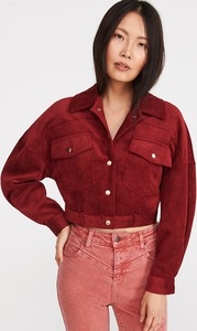 Czerwona kurtka Reserved krótka ze sztruksu w stylu casual