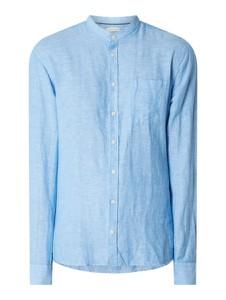 Niebieska koszula Casual Friday z długim rękawem ze stójką