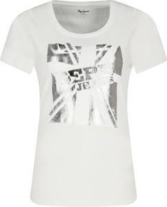 T-shirt Pepe Jeans w młodzieżowym stylu z krótkim rękawem z okrągłym dekoltem