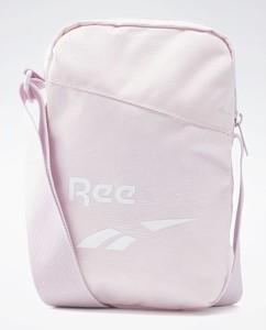 Różowa torebka Reebok Fitness z nadrukiem na ramię średnia