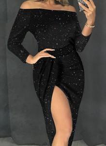 Czarna sukienka Cikelly z długim rękawem