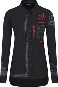 Granatowa koszula Desigual z długim rękawem z kołnierzykiem