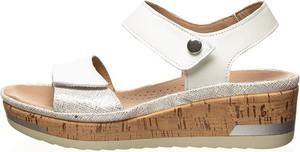 Srebrne sandały Rohde ze skóry na wysokim obcasie