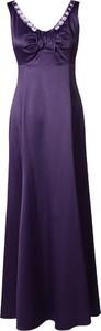 Sukienka Fokus z satyny z dekoltem w kształcie litery v maxi