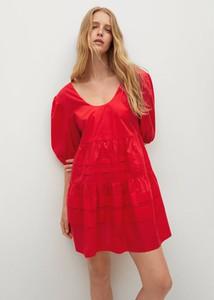 Czerwona sukienka Mango z dekoltem w kształcie litery v z długim rękawem mini
