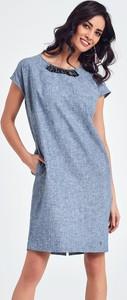 Niebieska sukienka Ennywear z tkaniny midi z krótkim rękawem