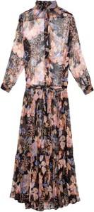 Różowa sukienka Mes Demoiselles maxi z długim rękawem z dekoltem w kształcie litery v