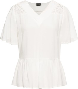 Bluzka bonprix BODYFLIRT z krótkim rękawem z dekoltem w kształcie litery v