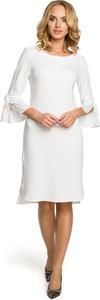 Sukienka MOE z długim rękawem midi z okrągłym dekoltem