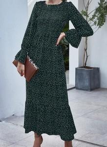Zielona sukienka Cikelly z okrągłym dekoltem