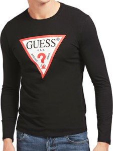 Czarny t-shirt Guess z bawełny z długim rękawem