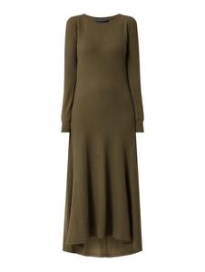 Brązowa sukienka POLO RALPH LAUREN z długim rękawem z okrągłym dekoltem