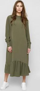 Zielona sukienka Freeshion z długim rękawem z tkaniny z okrągłym dekoltem