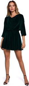 Zielona sukienka MOE z weluru z dekoltem w kształcie litery v