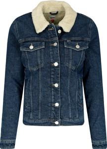 Granatowa kurtka Tommy Jeans krótka w stylu casual z jeansu