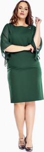 Sukienka Roxana midi z szyfonu z długim rękawem