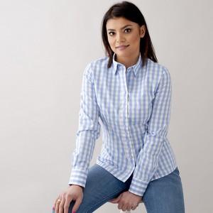 Niebieska koszula Willsoor z dekoltem w kształcie litery v z długim rękawem