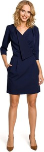 Granatowa sukienka MOE z długim rękawem kopertowa mini